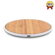 Portable Universal Slim 10W Qi Fast Bamboo Wireless Charger For Iphone X/8/8 Plus