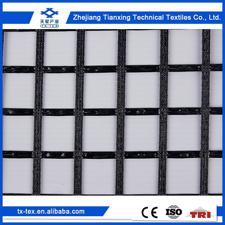 Road engineering Biaxial Warp Knitted Polyester pvc uniaxial geogrid