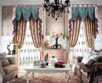 2015 European curtain design Classic chenille fabric curtains with valance design