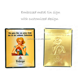 Fancy custom embossed metal tin signs with cheap price