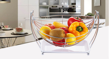 Wholesale high quality creative stainless steel swing fruit basket / modern beautiful fruit tray basket