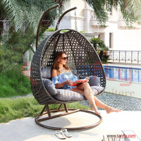 Garden Rattan Wicker Double Seat Hanging Swing Egg Chair with Metal Stand