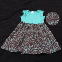 2016 summer wear aqua floral printing customized girls hand embroidery designs for baby dress