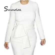 Smmoloa Wholesale Elegant Women White Long-sleeve Daily Wear Casual <strong>Dress</strong>