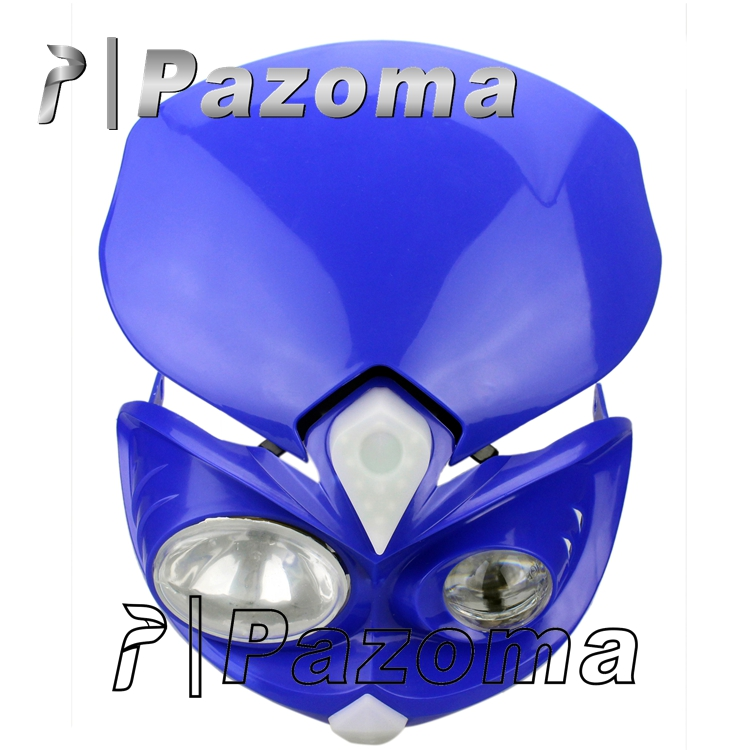 Blue Street Fighter Headlight for Dual sport motorcycles, dirt bikes; Street fighter, naked motorcycles