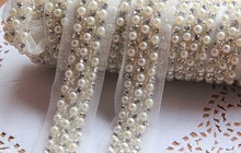 handmade sew on rhinestone lace trim with pearls and claw beads for garment decoration