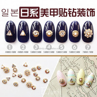500pic fashion 3D alloy nail art with pearl & rhinestone decoration