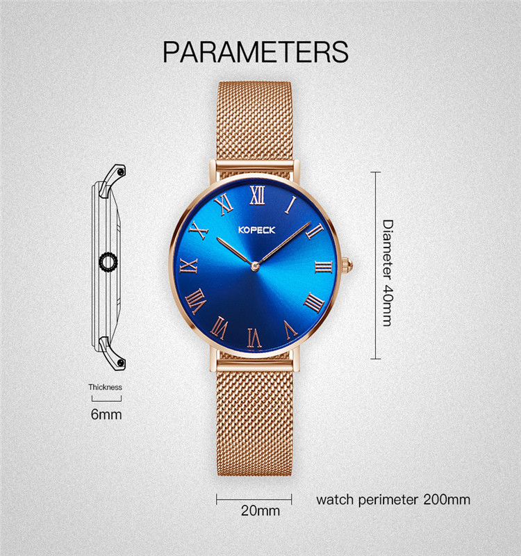 Limited edition charm big dial extra-thin quartz watch for lover