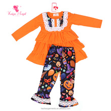 wholesale cute girl fall and winter Orange Color clothing sets mustard pie outfits