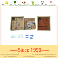 wooden toys stamp ink pad rubber stamp set animal and alphabet for kids education