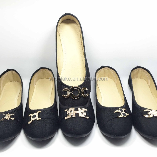 Cheap! Cheap! Cheap! Ladies Black Canvas Shoes with flat injection outsole