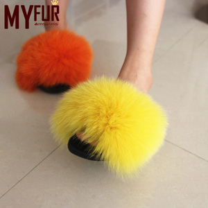 Fluffy Animal Fur Indoor Slipper Loafer Real Women Slide Slippers Ladies Soft Fox Fur Sandals Manufacturer