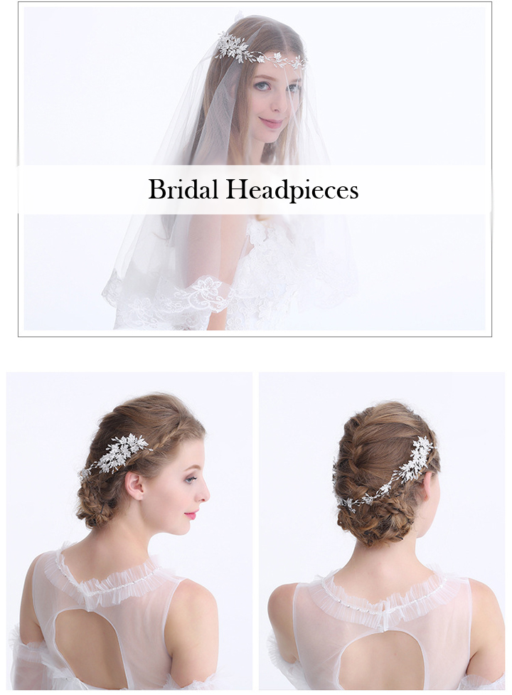 Dazzling Hair Vine Bridal Crystal and mini Beads Hairpiece Silver Maple Leaf Wedding Tiara Headband Forehead Band For Veil