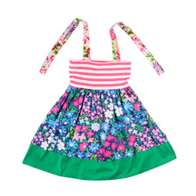 Hot Sale summer Baby Girls Kids halter flower print fashion stripe kids' Valentine's party Dress Cheap kids