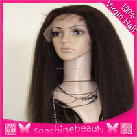 Best selling #1,#1b,#2,#4 100% Virgin Brazilian human hair Glueless Kinky Straight Lace Front Wigs For Fashion black Women in s