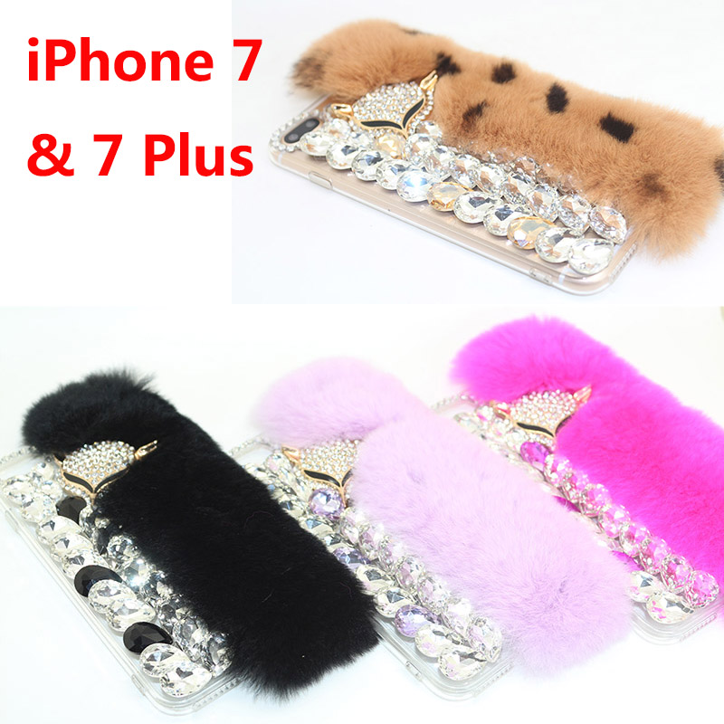 NEW Luxury Bling Diamond Fur Plush Phone Case Cover For iPhone 7 & 7 Plus Case