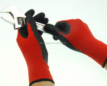 Wood processing / furniture manufacturing black latex palm coated nylon working gloves