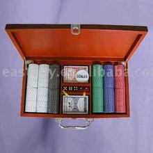 Poker Chips Set with Wooden Case in Colorful Box