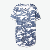 Fashion Men's Clothing All Over Printing Curved Hem Men's 100% Polyester t shirt