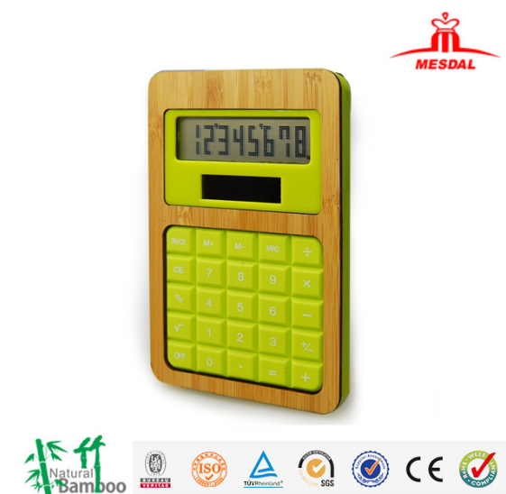 Hairong factory bamboo desktop calculator promotion solar office calculator