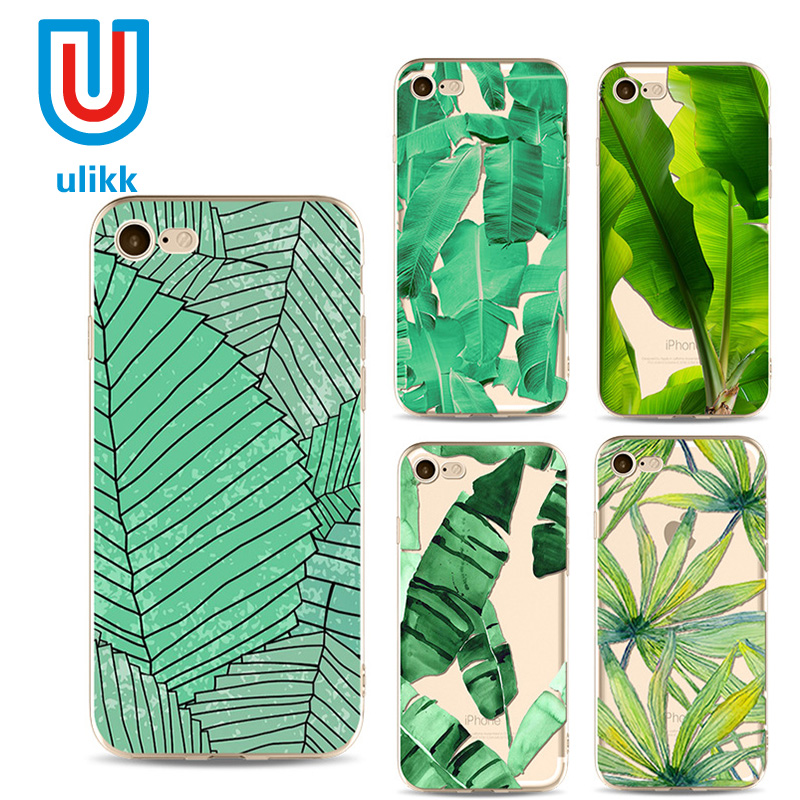 Green Leaf Phone Case Tree Banana Palm Branches Back Cover for iPhone 7 7 Plus 6 6plus 6plus 5 5c