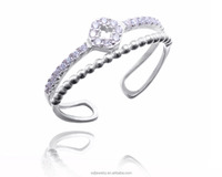 adjustable simple design micro pave crystal zircon fashion silver toe ring jewelry