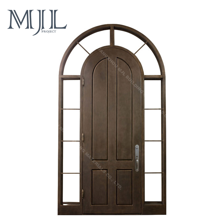 OEM/ODM Manufacturer Custom Size Antirust Painting Entrance Door Wrought Iron Door and Glass