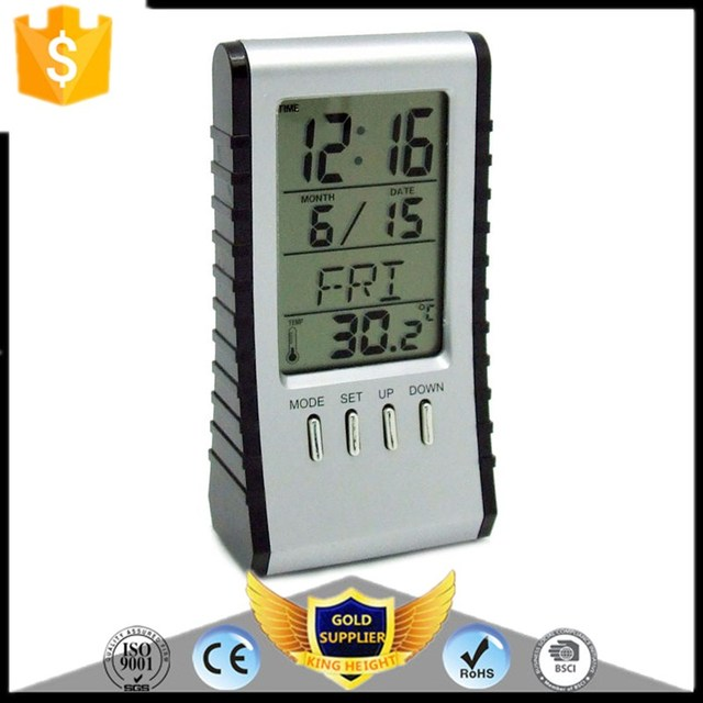 KH-0166 Electronic Thermometer Music Desktop LCD World Time Alarm Clock Calendar Calculator