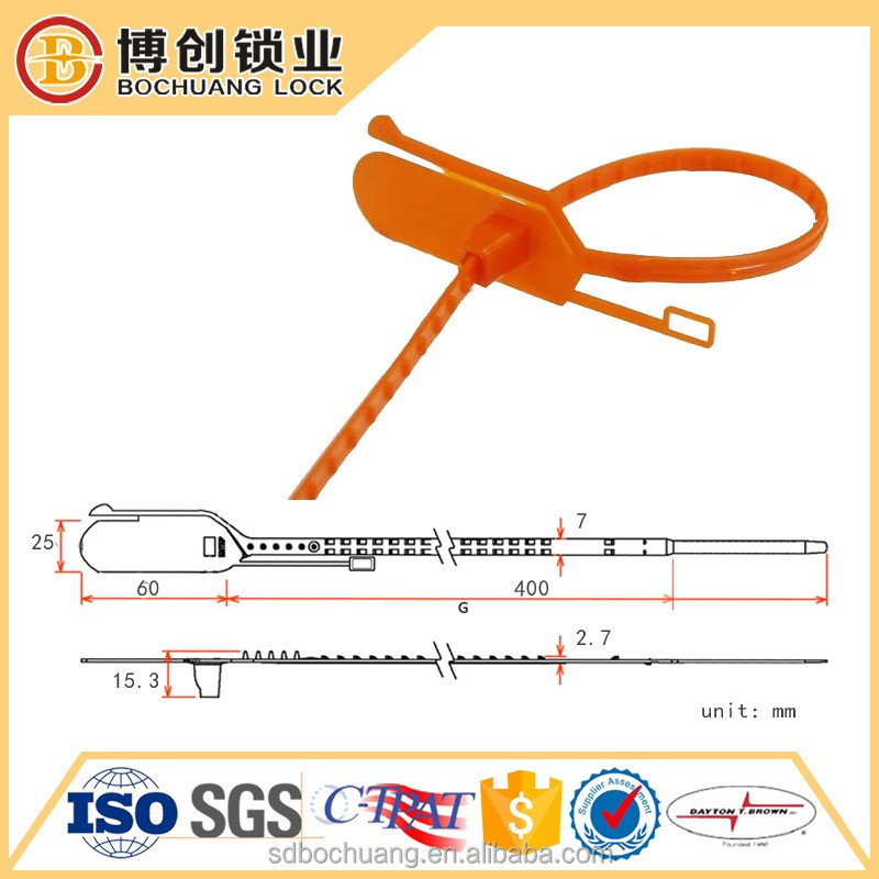 Tamper evident plastic seal pull tight tag seals for shipping