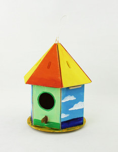 Wholesale DIY Bird House Wood Craft Painting Bird Cage