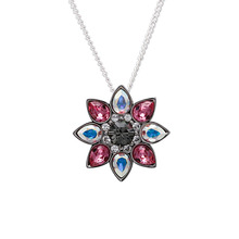 2017 fashionable jewelry sterling silver shining AAA CZ flower shape necklace
