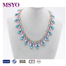 MSYO brand cheapst price Yiwu wholesale crystal gold plated fashion statement jewelry <strong>necklace</strong>