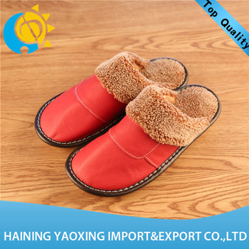 New arrival cow hide fashion woman indoor slipper no minimum wholesale