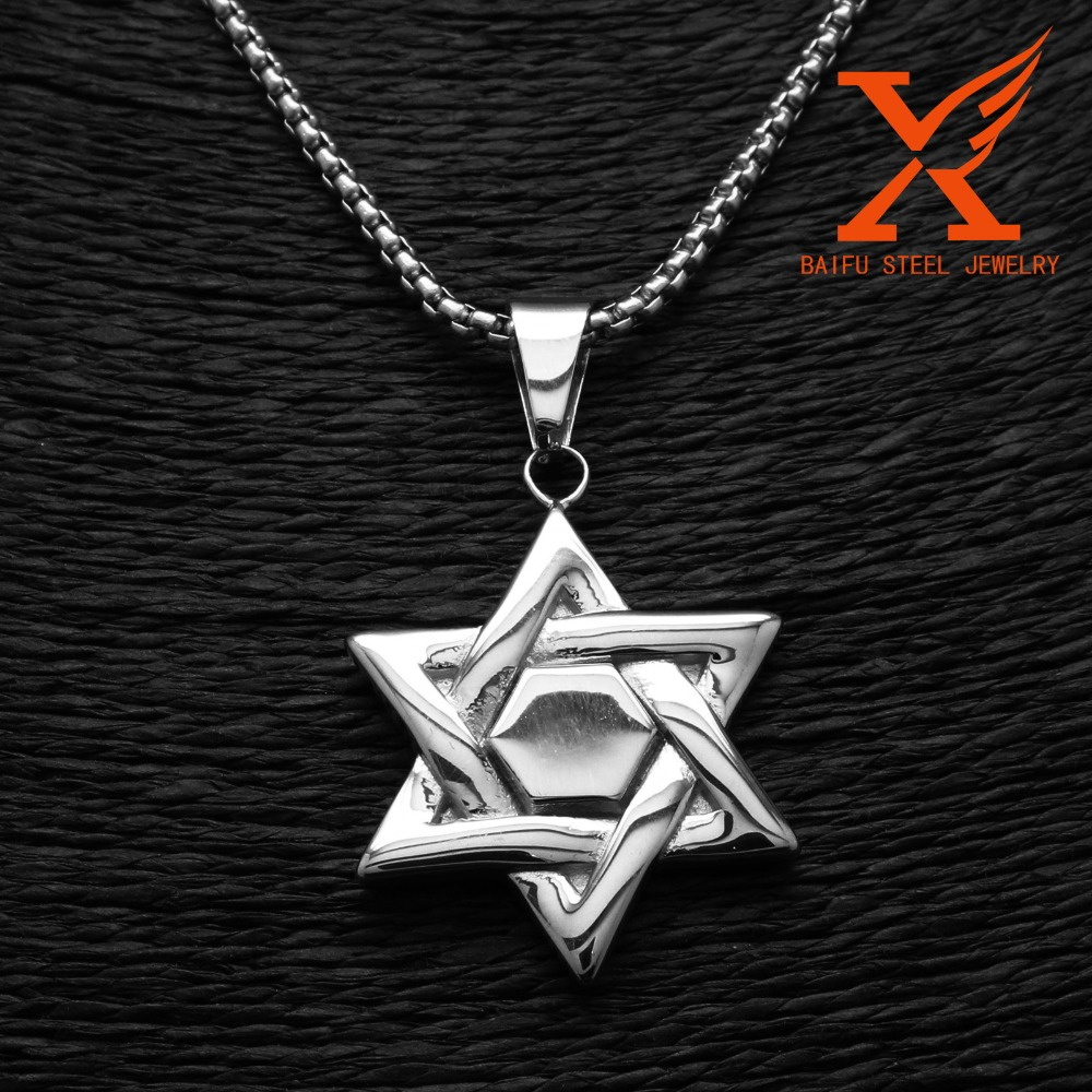 Fashion wholesale jewelry 316l stainless steel hexangular for Star of david jewelry wholesale