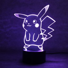 Pokemon GO Pikachu 3D LED Night Light 7 Color Changing Touch Switch Table Lamp