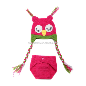Baby Crochet Animal Owl Costume Newborn Infant Photography Props Knitted Outfits