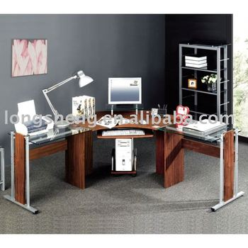 Modern Glass Top Office Partitioned Desk