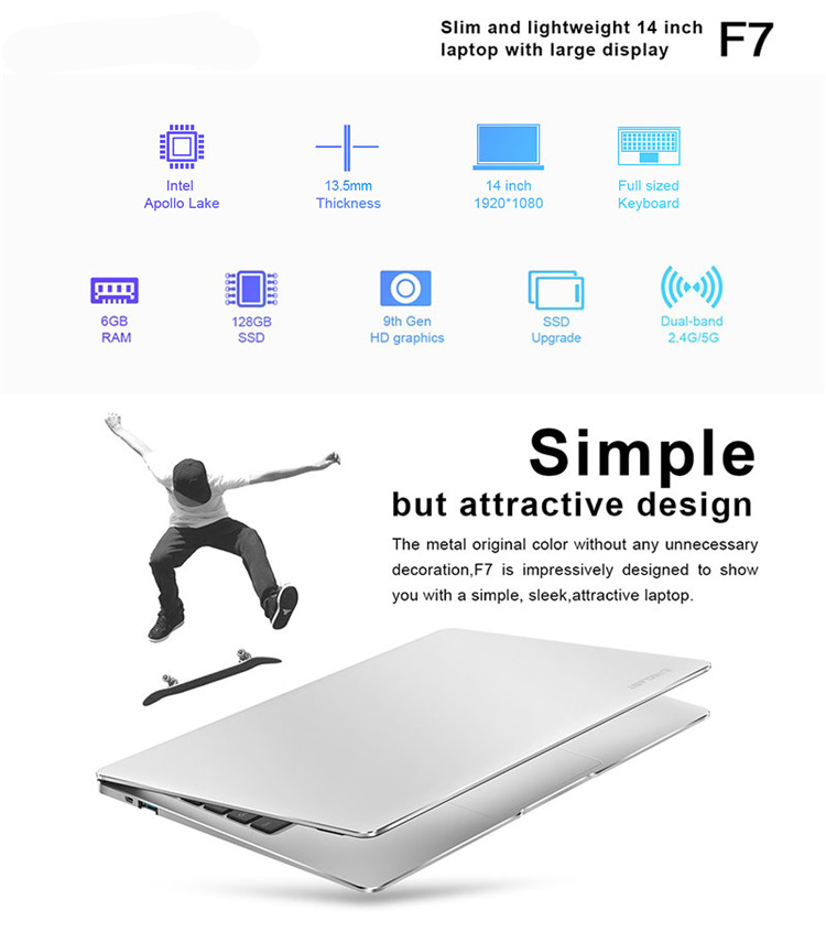14inch Super Slim IPS Screen 1920*1080  Full HD 37240mWh Win 10 Laptop