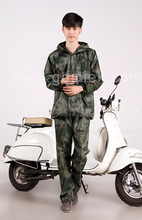 Waterproof Military camouflage pvc raincoat suit/poncho with trousers