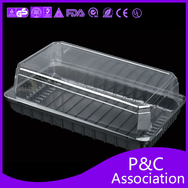 Plastic Clear Disposable Hinged Clamshell Food Packaging Containers