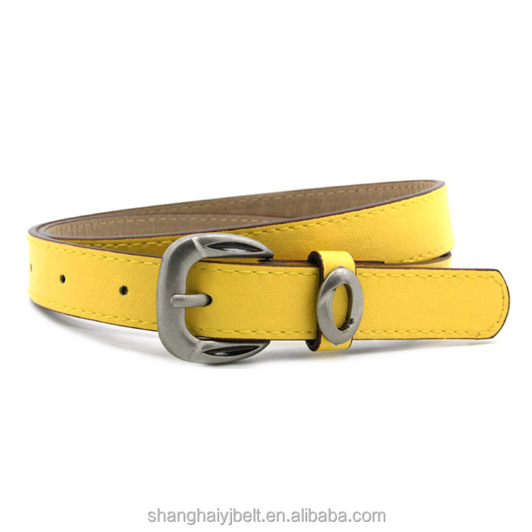 Fashion lady simple metal decoration buckle yellow pu leather wasit belt