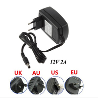 High quality DC12V 2A Power Supply AC Adaptor 5.5mm 24W For 3528 5050 Led Strips eu/uk/us/au Plug