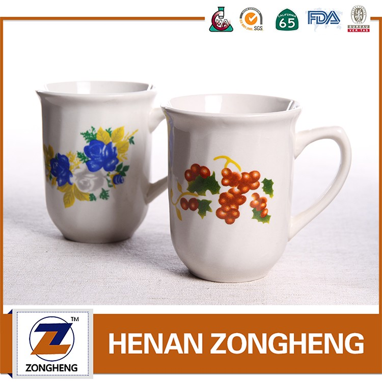 Belly shape flower decal printing ceramic coffee mugs