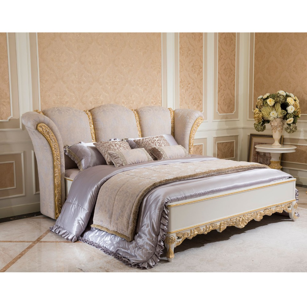 YB66W Antique Carved Bedroom Furniture Set, Luxury Upholstered Furniture Set, Latest Italian Style Royal Bedroom Set