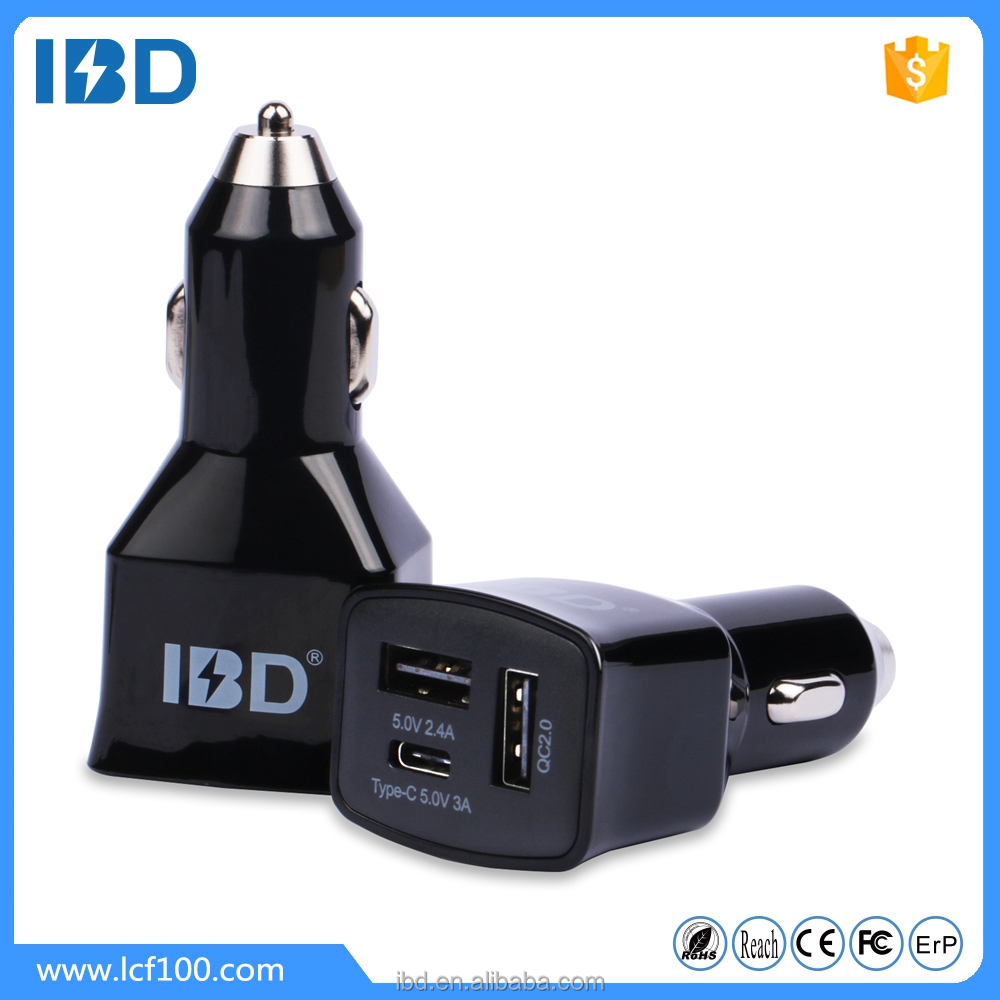 2016 unique design 5V/3A type-c 3.0 car charger , quick charging small charger in car for best outdoor cell phone