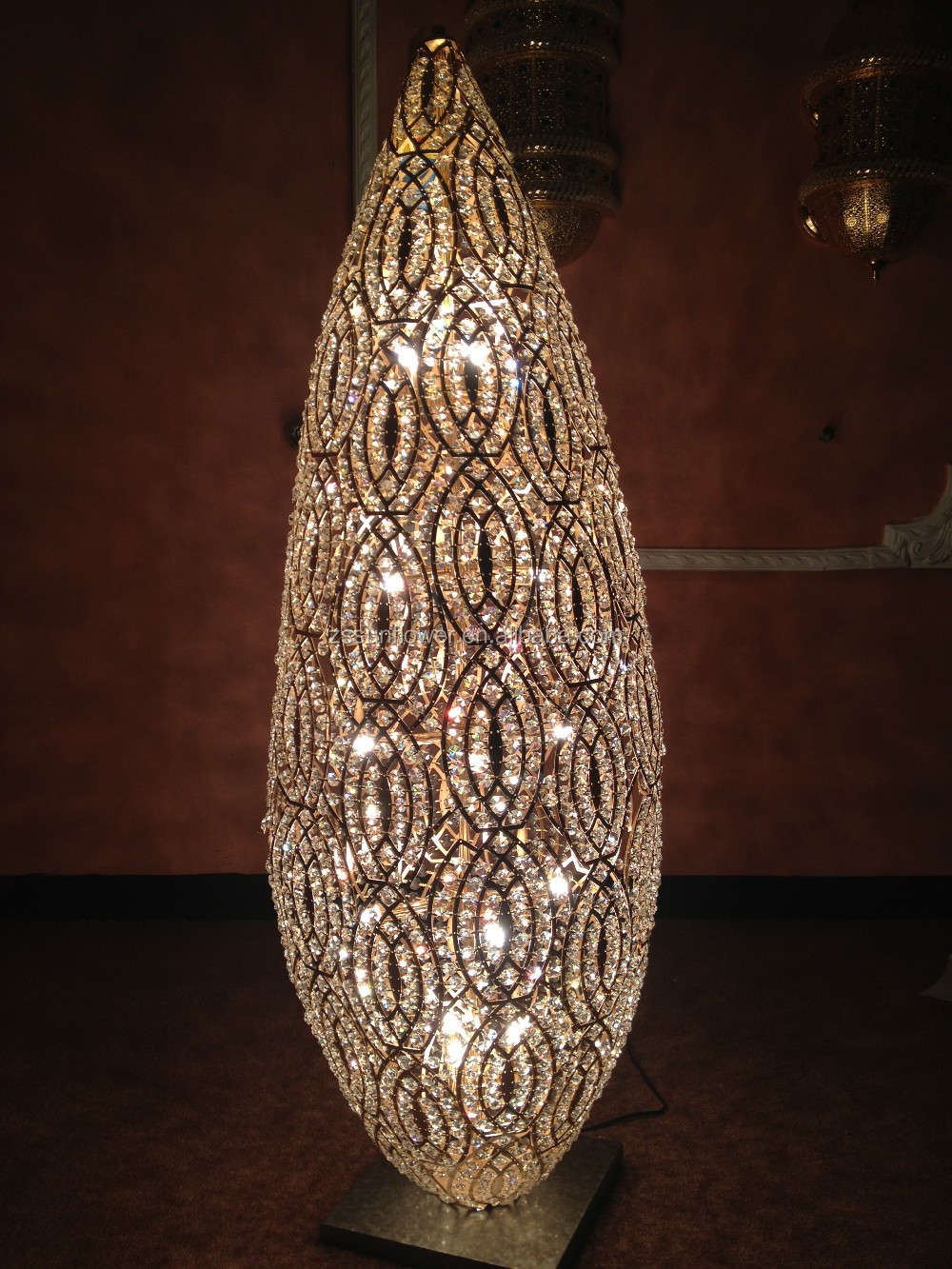 Modern wrought iron floor lamp with crystal for living room decoration