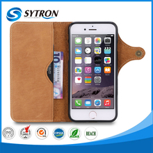 Fashion wallet phone cover with card slot genuine leather for iphone 6 case