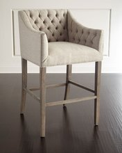 Pepper Tufted Barstool Tufted linen upholstery restaurant chair fabric barstool high quality modern seat