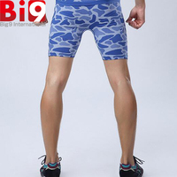 High-Tech Blue/Black Camo Underwear Sport Boxter Short Tight Sexy Compression Under Base Training Basic Wear For Gym Fitness