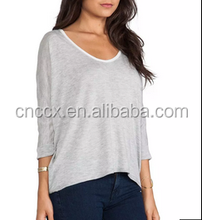 large size loose design lady's light weight sexy low cut v neck tops sweater
